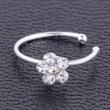 Silver Flower Nose Ring Crystal Nose Stud Thai Style Body Piercing Jewelry Gift