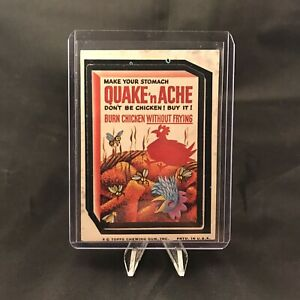 Topps Wacky Packages Series 8 Quake N Ache Sticker Trading Card Vintage 1974