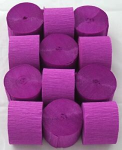 12 Dark Lilac Crepe paper EACH Streamer 45mm x 10metres quauliy decoration