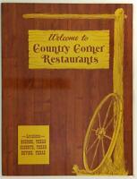 1981 Original Vintage Restaurant Menu Country Corner Boerne Schertz Devine Texas
