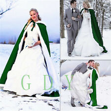 Bridal Winter Wedding Cloak Cape Hooded with Fur Trim Long Bridal 10 Color