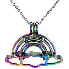 C796 Rainbow color Cloud Beads Cage Locket Pendant Essential Oil Diffuser