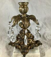 Vintage Art Deco Brass Metal Candle Holder Hanging Prisms Marble Base Italy