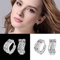 1Pair Elegant 925 Silver Hoop Earrings Women Girl Wedding Bridal Gift Ear Clip