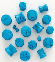 1 Pair 8g 3mm Organic Blue Stone Saddle Plugs Turquoise Ear Double Flare Gauges