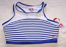 One Active By Michelle Bridges Ladies White Blue Hi Neck Crop Top Size 16 New