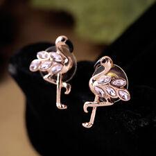 Costume Earrings Studs Cute Flamingos Bird Gold Enamel Black Crystal Pink N4