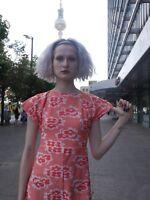 KLEID S 70er Hippie orange Flower Power Unikat TRUE VINTAGE sun dress GDR 70s