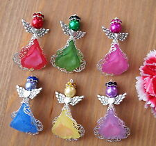 6x Angel Charms Pendants Frosted Flower Filigree 2 Tones Mixed 1 SET ONLY