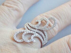 Beautiful & Unusual Swirly Sterling Silver & CZ Ring Sz O