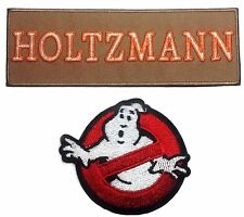 Ghostbusters Holtzmann Tan Name Tag with No Ghost Iron On Patch Set of 2