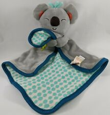 New listing B Toys Koala Bear Baby Security Blanket Lovey Gray Blue Crinkle Leaf Soft Toy