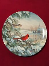Edwin M. Knowles Collector China Plate - Cardinals in Winter 1990