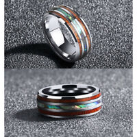 Fashion Men 8mm Tungsten Wood and Abalone titanium steel Rings For Party Gift
