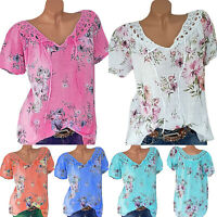 Women Short Sleeve Floral Lace Baggy Tee Summer Casual Boho T Shirt Blouse Tops