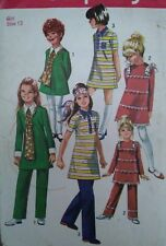 "Vintage 1970 Simplicity Girl Dress Trousers Sewing Pattern #8991 Chest 30"" Uncut"