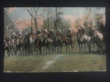 1907 MT USA Postcard Native American Indians Warriors on Horses Cover