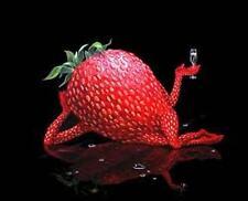 "Michael Godard ""SEXY STRAWBERRY""-Champagne-Las Vegas-Bar Art Plaque 11.5 x 11.5"