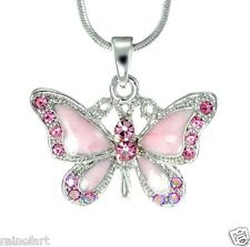"BUTTERFLY W Swarovski Crystal Pink Wings Pendant Necklace Gift Winx 18"" Chain"