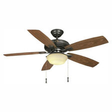 Ceiling Fan With Light Dome-Style 52 in. LED Indoor/Outdoor Natural Iron 3-Speed