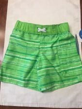 NWT- Infant Boys Wave Zone Green Swim Trunks-Size 18 Months