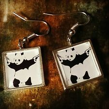 Unique BANKSY EARRINGS graffiti PANDA WITH GUNS cool STENCIL art GANGSTER urban
