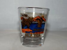 ALASKA THE GREAT LAND 2oz. Shot Glass Grizzly Bear Bi Plane Wilderness Souvenir