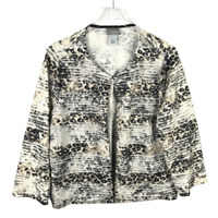 Chico's Travelers Size 2 Large Pleated Jacket Printed Top Hook-Clasp Close