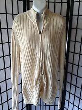 Steve & Barrys Size Large Beige W/ Navy Collar Double Zip Cable Knit Sweater