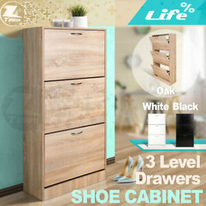 3 Level Drawers Shoe Cabinet Rack Storage Cupboard Organiser Shelf Chest