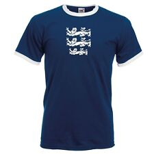 3 LIONS LARGE CREST ENGLAND CRICKET WORLD CUP 2019 RINGER T-SHIRT MENS