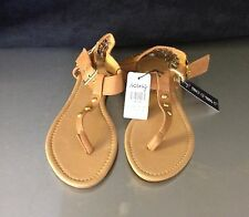 Icing Tan T-Strap Sandal With Gold Buckle Size 6
