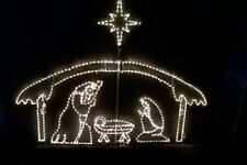 Large Nativity Shelter 3 Wisemen Outdoor LED Lighted Decoration Steel Wireframe