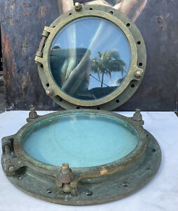 2 VINTAGE MARITIME BRASS SHIP,3 Dog Ears PORTHOLE WINDOW Swinburne Wallsend Name