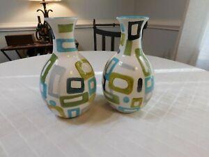 Pair of two Geometric Mid century design contemporary Mod vases