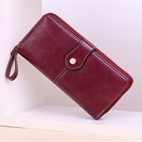 Women's Oil Wax Leather Long Clutch Wallet RFID Blocking Credit Card Holder