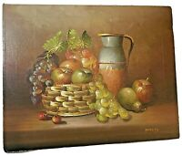 Vintage classic fruit basket still life painting oil on canvas signed Parkey