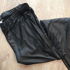 """Asos - 22 (20) 28"""" Length - Black Wet Look Stretch Leggings Trousers Lagenlook"""