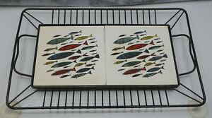 MID CENTURY MODERN ATOMIC ERA FISH PATTERN LARGE TRIVET, TRAY, CERAMIC & METAL