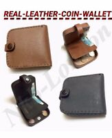 MENS COIN WALLET PURSE COIN CHANGE POUCH TRAY BLACK SQUARE REAL-LEATHER PURSE UK