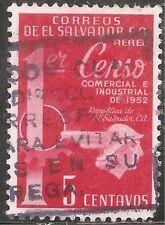El Salvador Air Post Stamp - Scott #C152/A175 5c Bright Carmine Canc/LH 1954