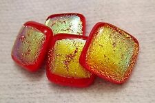 Lot 4PCS Dichroic Glass CABOCHON Smooth Square Beautiful Handmade NO HOLE Beads