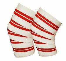 Power Lifter Weight Lifting Knee Wraps Straps Supports Gym Training White/Red