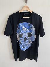 Alexander McQueen Men's Short Sleeve Skull Print Tee Shirt Crown Clock L
