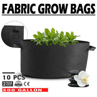 10 Pack 300 Gallon Fabric Plant Grow Bags With Handles Black Pots Garden HOT