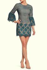 Dress The Population Peacock Blue Crochet MiniDress Size X-Large Orig $232