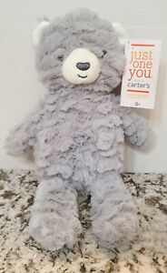"""Carters Just One You 11"""" Gray Bear Plush Stuffed Baby Lovey Toy NEW"""