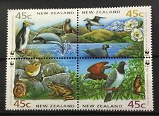 NEW ZEALAND # 1162d.  BLOCK OF FOUR, SPECIES UNIQUE TO NEW ZEALAND. (WWF)  MNH
