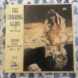 BOB QUICK THE LOOKING GLASS 1990s 1000 Piece SEALED Puzzle Native American Wolf