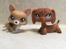 Littlest Pet Shop LPS #639 Corgi #640 Dachshund Dogs With Diamond Eyes Preowned